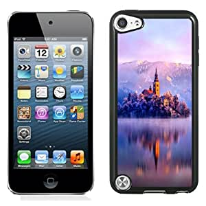 NEW Unique Custom Designed iPod Touch 5 Phone Case With Lake Monastery Fortress Winter_Black Phone Case