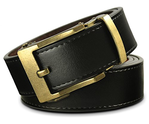 Men's Leather Ratchet Click Belt - Lincoln Antique Brass Buckle with Charcoal Black Leather Belt (Trim to Fit: Up to 43'' Waist)