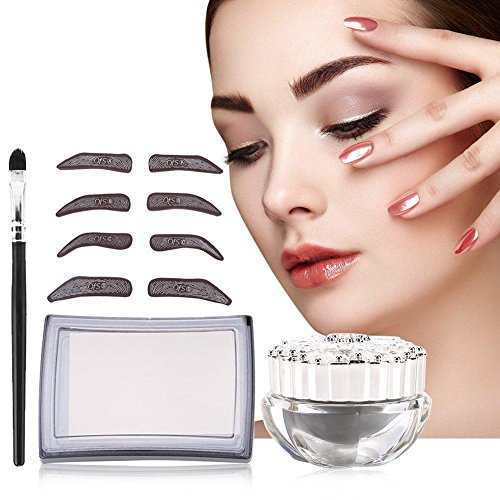 4 Types Eyebrow Makeup,Waterproof Definition Brow Stencil,Tattoo Eyebrow Ruler,Three-Point Positioning Permanent Makeup Symmetrical tool for Learner