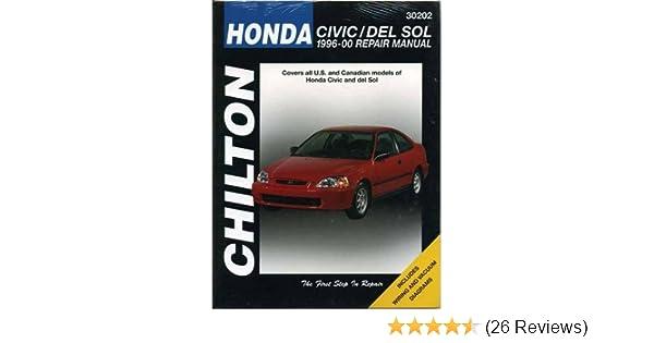 honda civic del sol 1996 2000 chilton total car care series