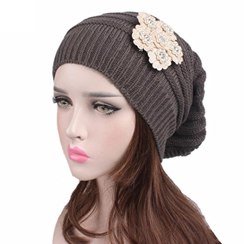 Hunputa Womens Hat Winter Flowers Trendy Warm Oversized Chunky Soft Oversized Cable Knit Slouchy Beanie (Gray) ()
