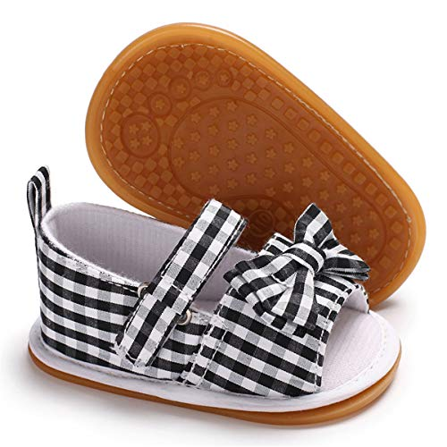 Sakuracan Infant Baby Girls Sandals Flower Non-Slip Soft Rubber Sole Summer First Walker Shoes (6-12 Months Infant, C-Black Stripe)