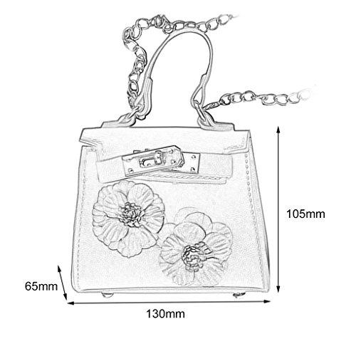 Messenger PU Sac chaîne 3D à en Fleurs Lady Arichtop bandoulière Mini Femmes Kaki à main Sac filles cuir bandoulière Sac CSP0dwqgx