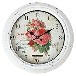 Lily's Home Vintage French Kitchen Wall Clock, Crafted with a Beautiful Distressed Design and Colorful Rose Bouquet Face, White (13.5 Inches)