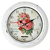 Lily's Home Vintage French Kitchen Wall Clock, Crafted with a Beautiful Distressed Design and Colorful Rose Bouquet Face, White (13.5 Inches) For Sale