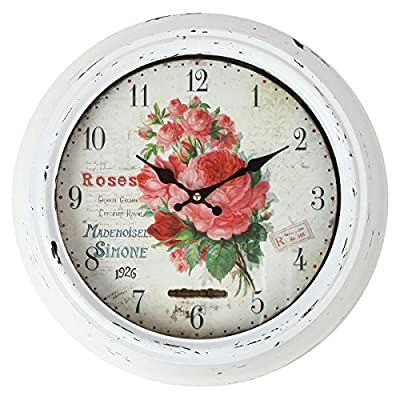 "Lily's Home Vintage French Kitchen Wall Clock, Crafted with a Beautiful Distressed Design and Colorful Rose Bouquet Face, White (13.5 Inches) - NATURE INSPIRED ARTWORK. The delicate watercolor art of the Vintage French Kitchen Wall Clock features roses to bring the garden to your kitchen. While the clock itself has been designed with quartz movement and guarantees accurate timekeeping. EYE CATCHING TIMEPIECE: At 13"" diameter, with large numerals, it's easy to tell the time from across your kitchen. Beautiful details of the rose bouquet pint and distressed white frame are sure to attract compliments. BATTERY POWERED AND EASY TO MOUNT: The Vintage French Kitchen Wall Clock is battery powered and does not consist of any cords for charges. 1 AA battery is required but is not included. Easily mount to any wall with a single nail or screw. - wall-clocks, living-room-decor, living-room - 51yrU4V6n6L. SS400  -"