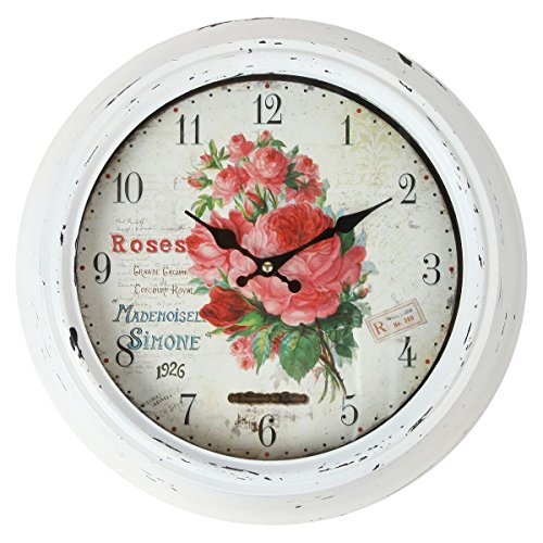 Lily's Home Vintage French Kitchen Wall Clock, Crafted with a Beautiful Distressed Design and Colorful Rose Bouquet Face, White (13.5 - Wall Clock Bouquet
