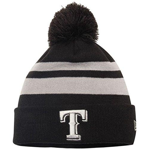 Texas Rangers New Era Double Stripe Cuffed Knit Hat With Pom Black Double Stripe Beanie