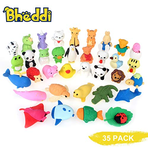 Bheddi Puzzle Erasers (35 Pcs), Cute Animal Mini Colorful Take-Apart Set, Interesting Fancy Pencil Eraser Pack, Good Gifts for Kids, Erasers Toy Collection for School Supplies