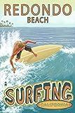 Redondo Beach, California - Surfer Tropical (9x12 Collectible Art Print, Wall Decor Travel Poster)