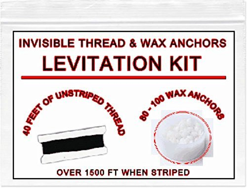 INVISIBLE MAGICIANS THREAD & WAX: Easy levitation kit. Buy gimmick for close up street magic illusions. Props & accessories for magic. Cool easy best most popular pranks gags. Floating Halloween.