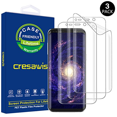 Galaxy S8 Plus Screen Protector, [3-Pack] Samsung Galaxy S8 Plus Screen Protector, cresawis Full Screen Coverage PET [NOT Glass] HD Screen Protector for Galaxy S8 Plus [Case Friendly]
