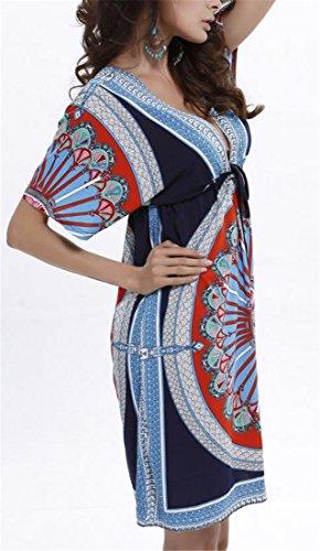 Chauve-souris Des Femmes Cromoncent Impression À Manches Courtes Taille Élastique Plage Col V Robe Noire Bleu