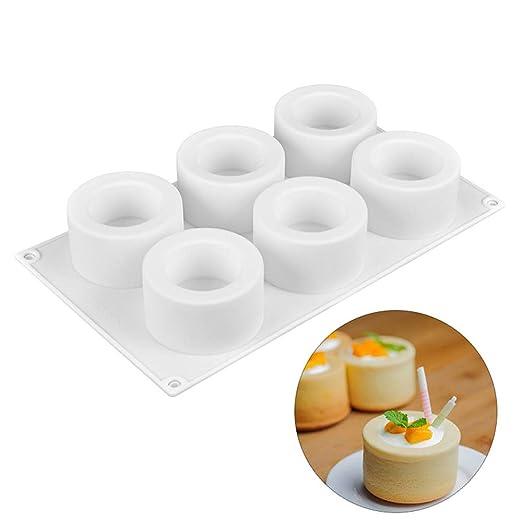 Youzpin Molde de silicona con 6 cavidades huecas cilíndricas para ...