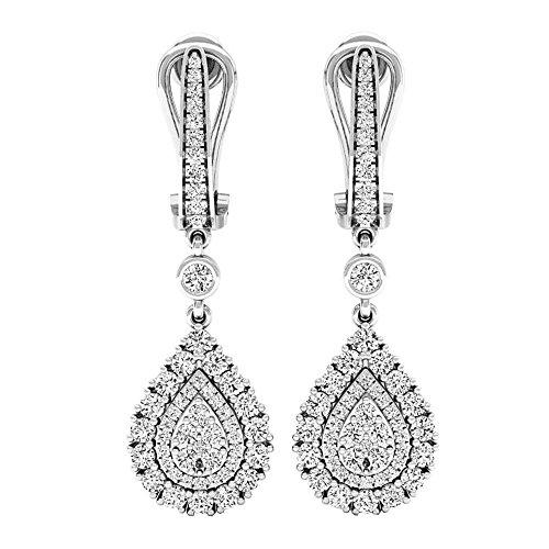 1.65 Carat (ctw) 14K Gold Round White Diamond Ladies Dangling Drop Earrings