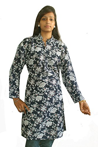 Indian-100-Cotton-Blue-Color-Women-Top-Kurta-Tunic-Kurti-plus-size-Floral-Print-Ethnic