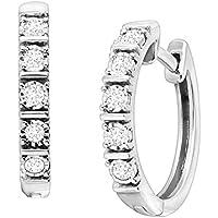 Finecraft 1/4 ct Diamond Square Tube Hoop Earrings in Sterling Silver