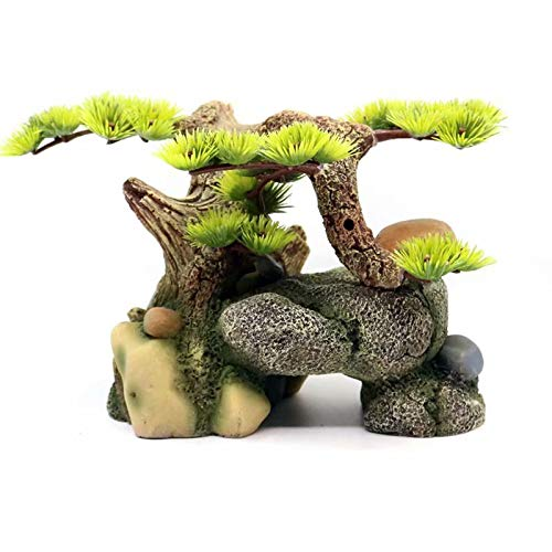 21x15x14cm Aquarium Decoration Rockery Welcoming Pine Water Grass Aquarium Landscaping Simulation Tree Root Sinking Wood Ornaments