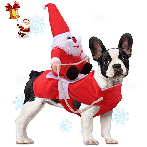 AVOD Running Santa Dog Costume Christmas Pet Clothes, Dog Apparel Party Dressing up Clothing for Small Large Dogs Pet…