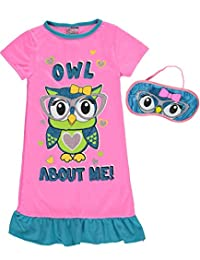 "Sweet n Sassy Big Girls' ""Owl about Me!"" Nightgown with Eye Mask"