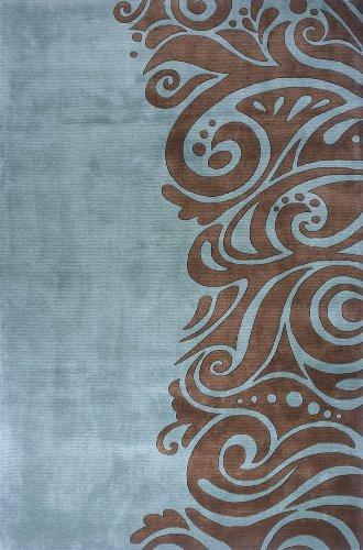 Momeni Contemporary Rectangle Area Rug 8'x11' Turquoise New Wave (Turquoise New Wave Rug)