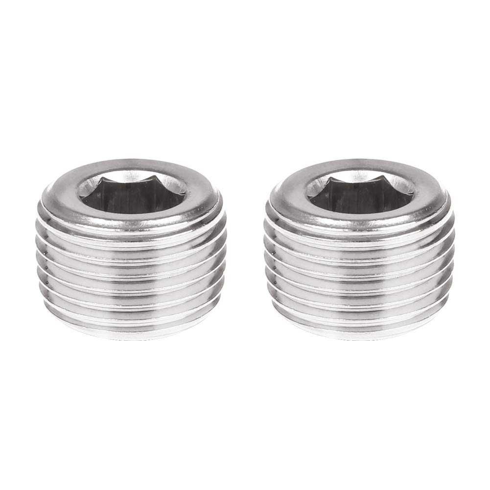 Hex Countersunk Pipe Plug Pack of 2 Internal Hexagonal Countersunk Head for Increased Leverage CellarBrew Stainless 1 NPT Male Pipe Fittings