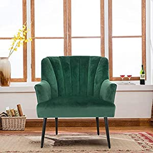 Hodge and Hodge Dark Green Oyster Armchair Plush Velvet Fabric Cover and Shell Stitched Back This Modern Furniture…