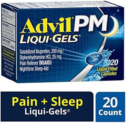 Advil PM Liqui-Gels (20 Count) Pain Reliever / Nighttime Sleep Aid Liquid Filled Capsules, 200mg Ibuprofen, 25mg Diphenhydramine