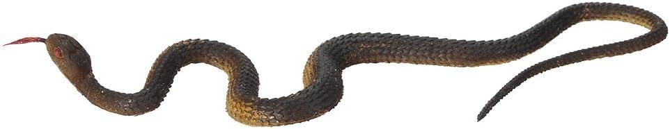 Goolsky Simulation Black Rubber Snake Fake Snake Garden Props Tricky Funny Toy (Brown)