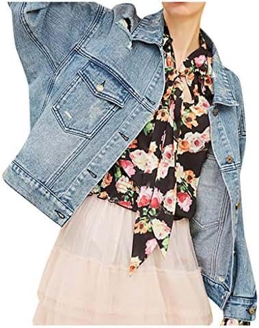 Ultramall Denim Jackets Women Jean Jacket Original Trucker Jacket Boyfriend Long Sleeve Outerwear Coat