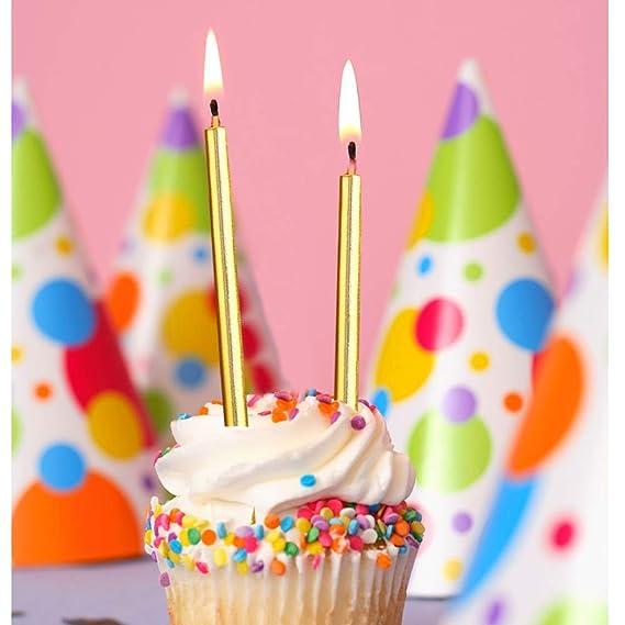 ZARRS Velas de Tarta de Cumpleaños, 36 Piezas Velas de Tarta Metálicas Delgadas Largas Velas para Decoración de Tarta de Cumpleaños de Boda Ora