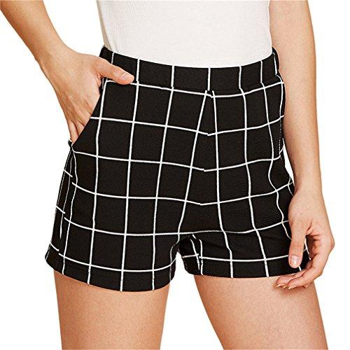 e4f59569720e79 Pantaloncini a coste elastiche in vita Pantaloncini a coste dritte media  alta Donna Pantaloncini eleganti a quadri scozzesi neri: Amazon.it:  Abbigliamento