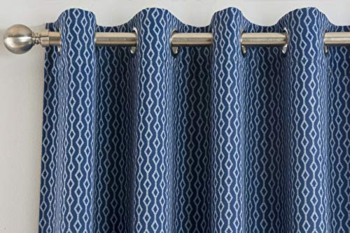 Modern Miami Geometric Woven Thermal Blockout Eyelet Ring Top Curtain Pair