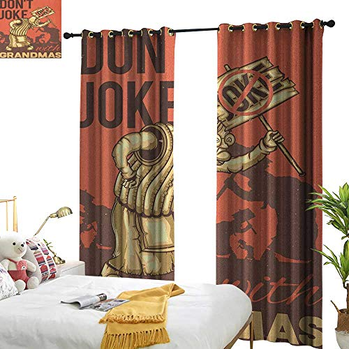 WinfreyDecor Insulated Sunshade Curtain Grandma Dont Joke with Grandmas Quote Cartoon Protesting Elderly Woman Darkening and Thermal Insulating W72 x L96 Coral Dark Taupe Pale Yellow ()