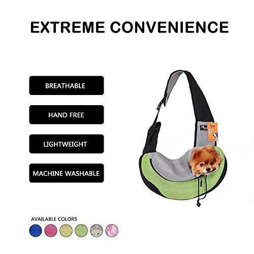 Messenger Pet Carrier - Ondoing Travel Pet Carrier Waterproof Lightweight Adjustable with Oxford Fabric Pet Shoulder Bag Soft Outdoor Pet Messenger Bag for Little Puppy Kitty(4828 cm) (Green)