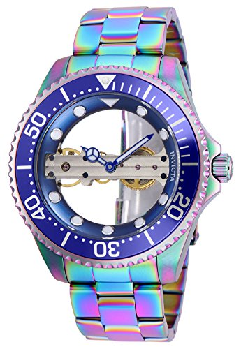 Invicta 26480 Pro Diver Ghost Bridge Silver Dial Men's Watch Mechanical Hand Wind Movement with Stainless Steel Bracelet with Iridescent Case (Bridge Watch Automatic)