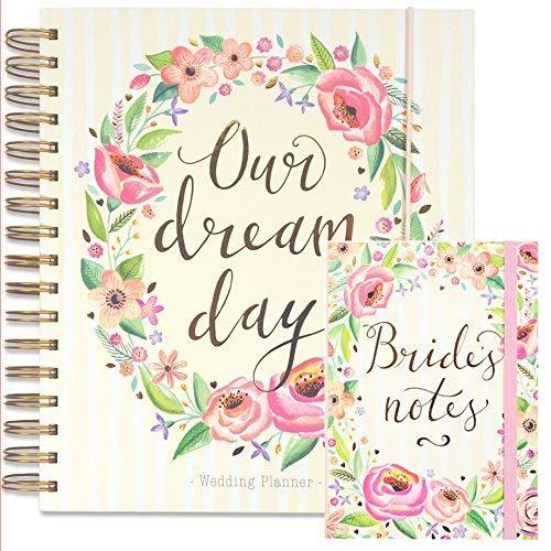 Set da wedding planner, con grande agenda per matrimoni e blocco note in coordinato per la sposa, motivo: floreale, un perfetto regalo di fidanzamento Rachel Ellen