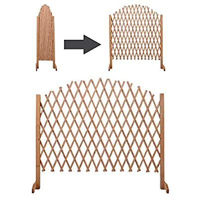 New Expandable Patio Fence Wooden Screen Portable Pet Safety Gate Kid Garden