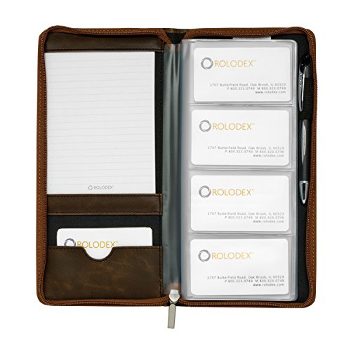 Rolodex Explorer Collection Business Card Book, 96-Card, Brown (22336) - Explorer Zipper Pulls