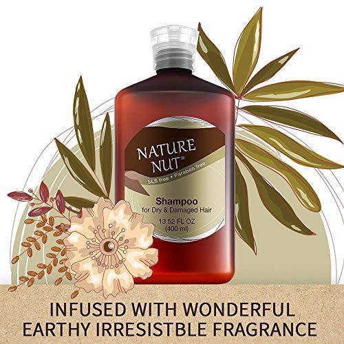Nature Nut Dry & Damaged Hair Repair Shampoo + Hair Conditioner. Hypoallergenic 5 Nut Natural Blend Moisturizer Hydration Boost Formula
