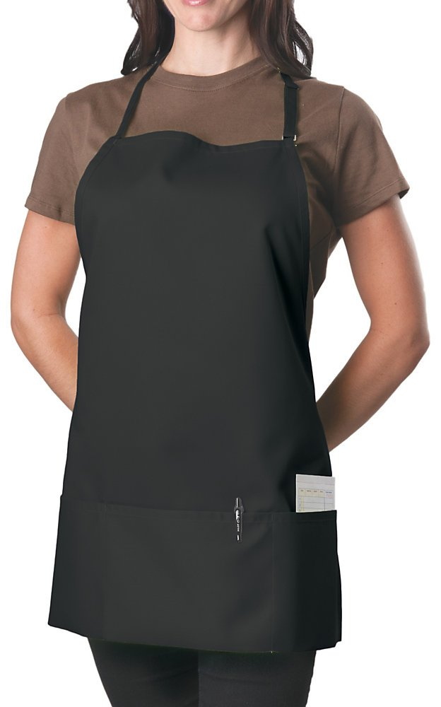6 Pack - Black Adjustable Bib Apron - 3 Pocket