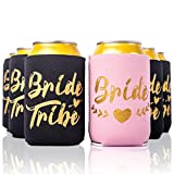 Bachelorette Party 11pc Drink Coozies - BRIDE TRIBE & BRIDE - 10 Black & 1 Pink Blushing Bride Color Bachelorette Party Coozie, Bridal Showers, Party Favor Beverage Insulators by Almost Bride