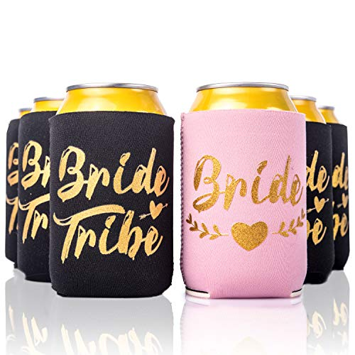 Bachelorette Party 11pc Drink Coozies - BRIDE TRIBE & BRIDE - 10 Black & 1 Pink Blushing Bride Color Bachelorette Party Coozie, Bridal Showers, Party Favor Beverage Insulators by Almost ()