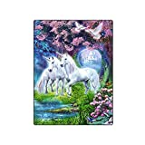 KUAYI Throw Blanket-Super Soft Home Decor Bedding Fleece Blanket,Unicorn for Bed and Couch,58''x80''