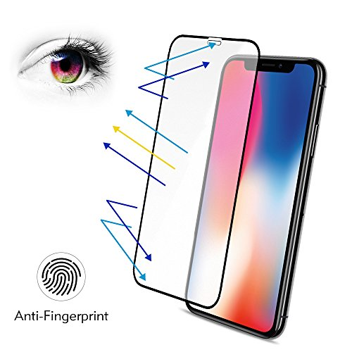 (iPhone X Matte Screen Protector Tempered Glass, Benks Anti-Glare Anti-Fingerprint Protective Film with Full Coverage Screen Protector for iPhone X 10 (Case Friendly) Black)