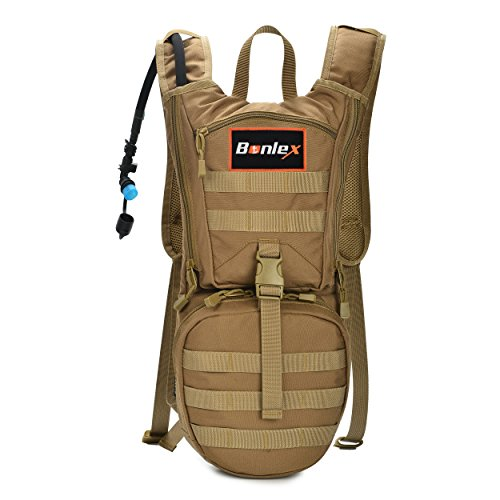 (BONLEX Hydration Pack Backpack Tactical Hight Quality Rucksack Water Backpack including 3L BPA free Water Bladder,Heavy Duty,Light Weight,for Hiker,Biker,Runner and Climber 2Years Warranty (Tan))