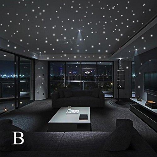 YJYdada Glow In The Dark Star Wall Stickers 407Pcs Round Dot Luminous Kids Room Decor