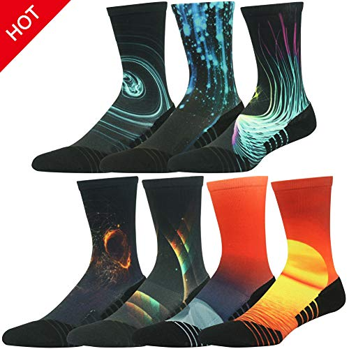 HUSO Men's Women's Youth Galaxy Colorful Athletic Crew Socks Seamless Light Cushion Mid Calf Crew Gift Socks 7 Pairs (Multicolor, L/XL) by HUSO