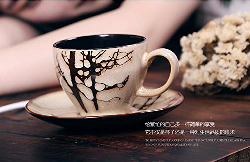 SSBY Hand-painted coffee cups and saucers suit ceramic mug cup restoring ancient ways European cup milk cup coffee mug with spoon,D