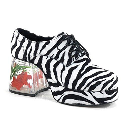 PIMP-02, Zebra Fur Men's Platform W/Floating Fish, 3 1/2(Zebra Fur,XL) (Zebra Platform Shoes)